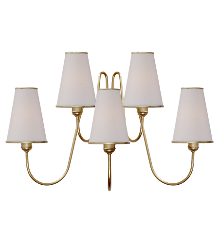 Visual Comfort ARN 2052G-L AERIN Modern Montreuil Medium Wall Sconce in Gild with Linen Shades