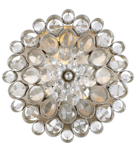 Visual Comfort ARN 2220BSL-CG AERIN Traditional Claret Round Sconce in Burnished Silver Leaf with Crystal