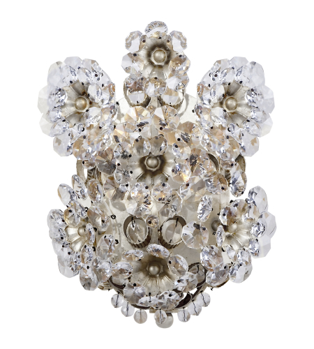 Visual Comfort ARN 2223BSL-CG AERIN Traditional Claret Shield Sconce in Burnished Silver Leaf with Crystal