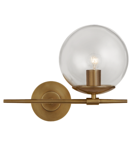 Visual Comfort ARN 2255HAB-CG AERIN Modern Turenne Small Sconce in Hand-Rubbed Antique Brass with Clear Glass