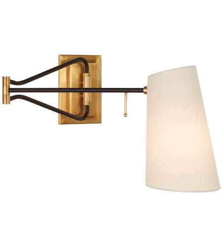 Visual Comfort ARN 2650HAB/BLK-L AERIN Modern Keil Swing Arm Wall Light in Hand-Rubbed Antique Brass and Black with Linen Shade