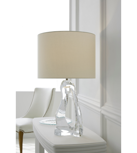 Visual comfort arn 3100cg l aerin modern cannes table lamp in clear glass with linen