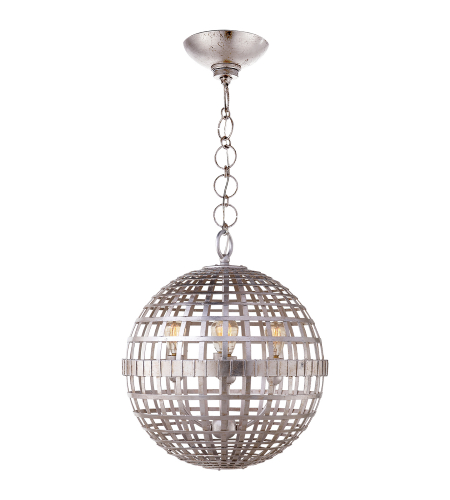 Visual Comfort ARN 5003BSL AERIN Modern Mill Small Globe Lantern in Burnished Silver Leaf