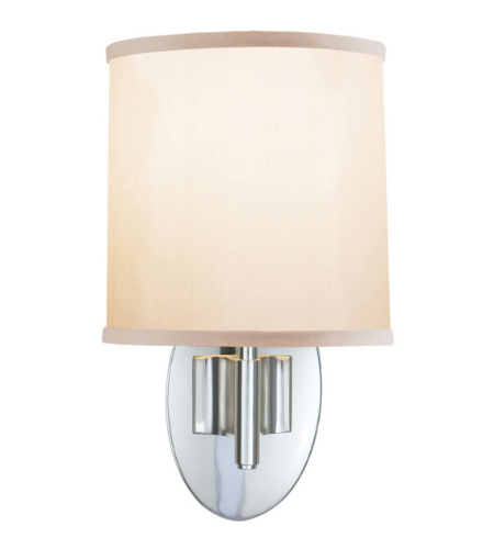 Visual Comfort BBL 2038SS-S Barbara Barry Modern Graceful Ribbon Single Sconce in Soft Silver with Silk Shade
