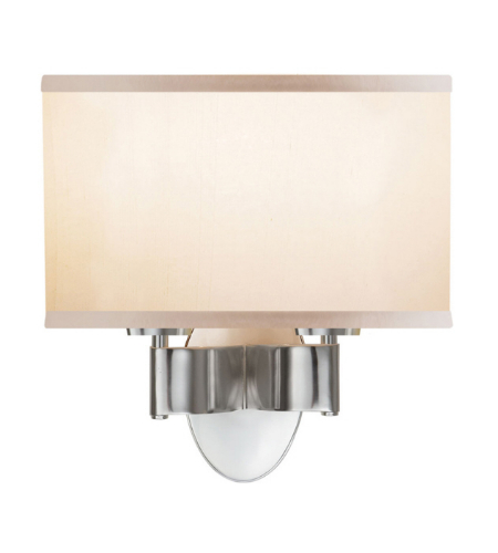 Visual Comfort BBL 2039SS-S Barbara Barry Modern Graceful Ribbon Double Sconce in Soft Silver with Silk Shade
