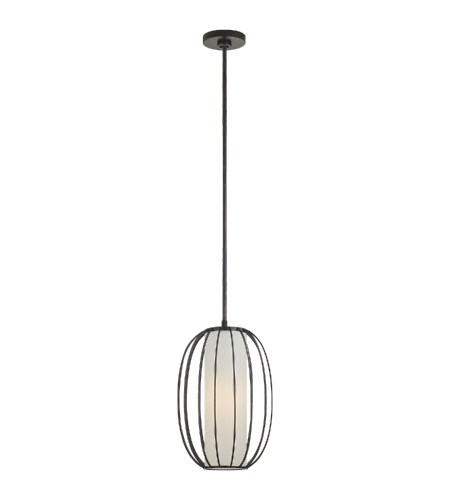 Visual Comfort BBL 5008BZ-L Barbara Barry Modern Carousel Small Oblong Lantern in Bronze with Linen Shade