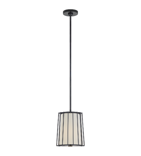 Visual Comfort BBL 5012BZ-L Barbara Barry Modern Carousel Small Tapered Lantern in Bronze with Linen Shade