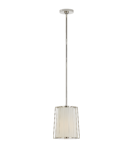 Visual Comfort BBL 5012PN-L Barbara Barry Modern Carousel Small Tapered Lantern in Polished Nickel with Linen Shade