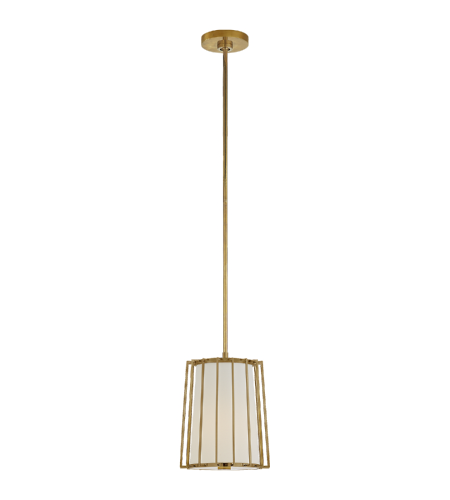 Visual Comfort BBL 5012SB-L Barbara Barry Modern Carousel Small Tapered Lantern in Soft Brass with Linen Shade
