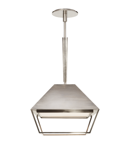 Visual Comfort BBL 5101PWT-FA Barbara Barry Modern Odeum Small Lantern in Pewter with Frosted Acrylic Diffuser