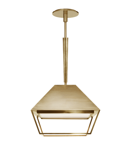 Visual Comfort BBL 5101SB-FA Barbara Barry Modern Odeum Small Lantern in Soft Brass with Frosted Acrylic Diffuser