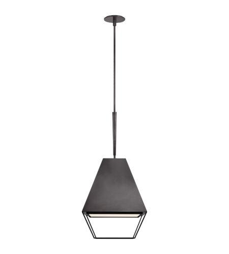 Visual Comfort BBL 5102BZ-FA Barbara Barry Modern Odeum Medium Lantern in Bronze with Frosted Acrylic Diffuser
