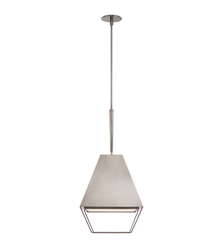 Visual Comfort BBL 5102PWT-FA Barbara Barry Modern Odeum Medium Lantern in Pewter with Frosted Acrylic Diffuser