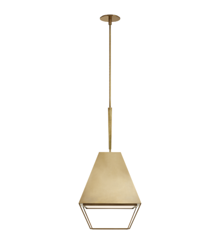 Visual Comfort BBL 5102SB-FA Barbara Barry Modern Odeum Medium Lantern in Soft Brass with Frosted Acrylic Diffuser