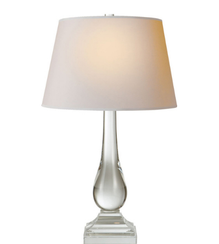 Visual Comfort CHA 8917CG-NP E. F. Chapman Modern Modern Balustrade Table Lamp in Crystal with Natural Paper Shade