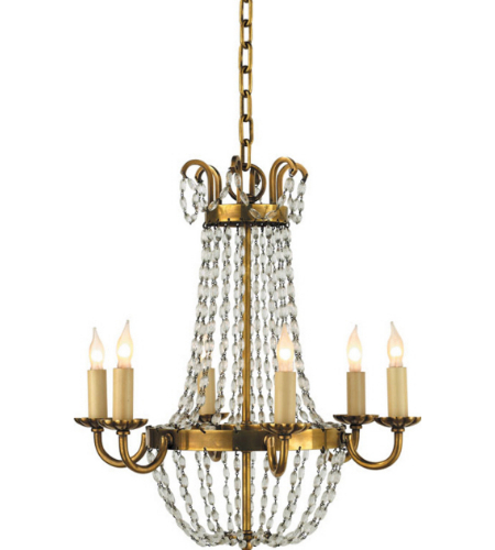 Visual Comfort CHC 1407AB-SG Chapman & Myers Traditional Petite Paris Flea Market Chandelier in Antique-Burnished Brass
