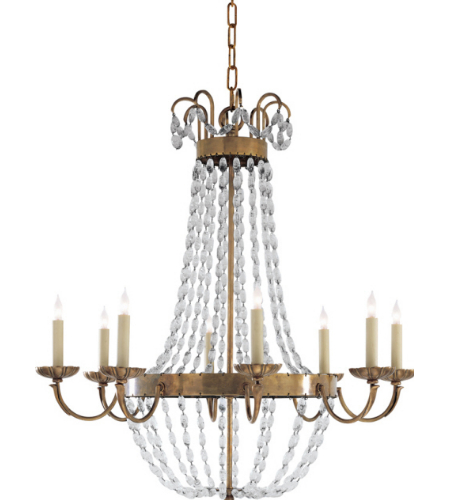 Visual Comfort CHC 1408AB-SG Chapman & Myers Traditional Paris Flea Market Large Chandelier in Antique-Burnished Brass