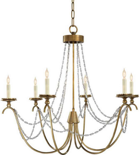 Visual Comfort CHC 1415AB-SG Chapman & Myers Casual Marigot Medium Chandelier in Antique-Burnished Brass