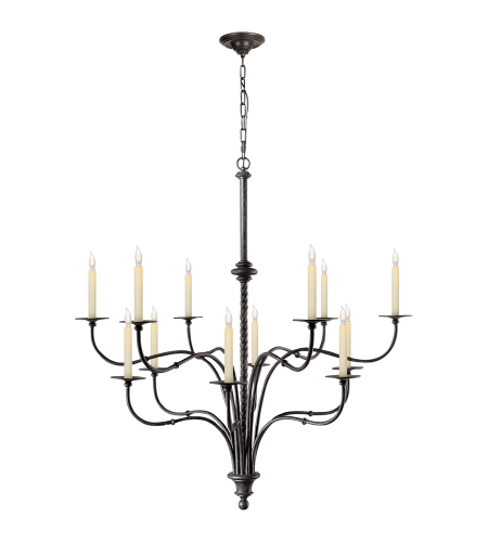 Shop for visual comfort iron chandeliers at foundry lighting visual comfort chc 1432br e f chapman casual windsor large iron two tier chandelier in black aloadofball Image collections