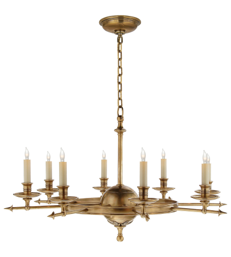 Visual Comfort CHC 1447AB Chapman & Myers Traditional Leaf and Arrow Large Chandelier in Antique-Burnished Brass