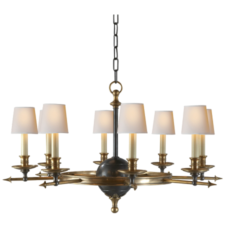 Visual Comfort CHC 1447BZ/AB Chapman & Myers Traditional Leaf and Arrow Large Chandelier in Bronze with Antique Brass