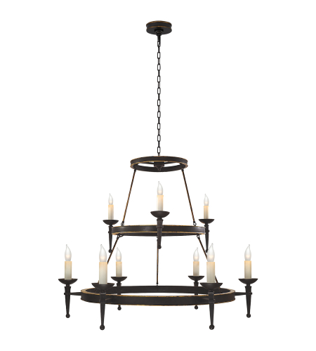 Visual Comfort CHC 1462WI Chapman & Myers Casual Dorset Large Torch Chandelier in Weathered Iron