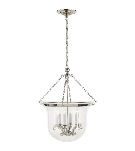 Visual Comfort CHC 2110PN E. F. Chapman Traditional Country Large Bell Jar Lantern in Polished Nickel