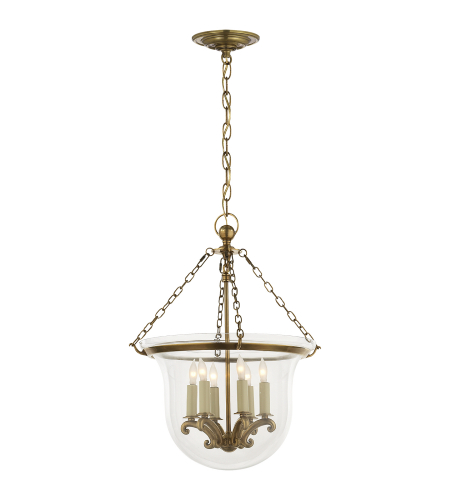 Visual Comfort CHC 2117AB Chapman & Myers Traditional Country Medium Bell Jar Lantern in Antique-Burnished Brass