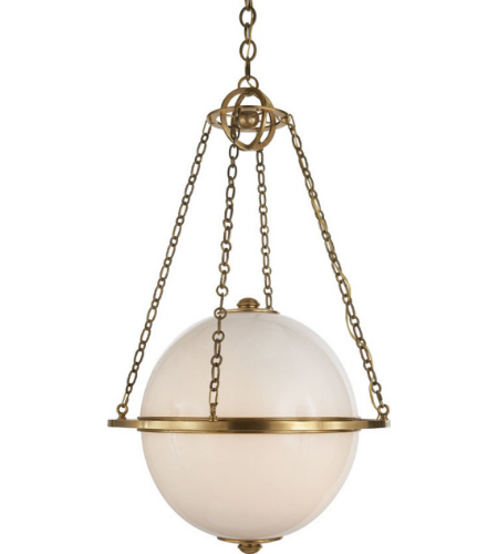Visual Comfort CHC 2135AB-WG E. F. Chapman Modern Modern Globe Lantern in Antique-Burnished Brass with White Glass