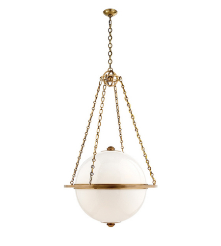 Visual Comfort CHC 2136AB-WG E. F. Chapman Modern Modern Large Globe Lantern in Antique-Burnished Brass with White Glass