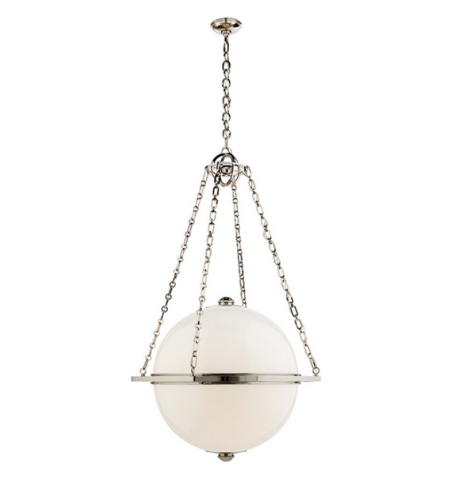 Visual Comfort CHC 2136PN-WG E. F. Chapman Modern Modern Large Globe Lantern in Polished Nickel with White Glass