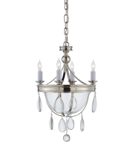 Visual Comfort CHC 2138PN-CG E. F. Chapman Traditional Devon Mini Glass Bowl Chandelier in Polished Nickel with Clear Glass