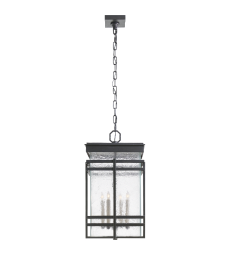 Visual Comfort CHC 2280AI-TG E. F. Chapman Modern Mission Large Banded Lantern in Aged Iron with Clear Textured Glass