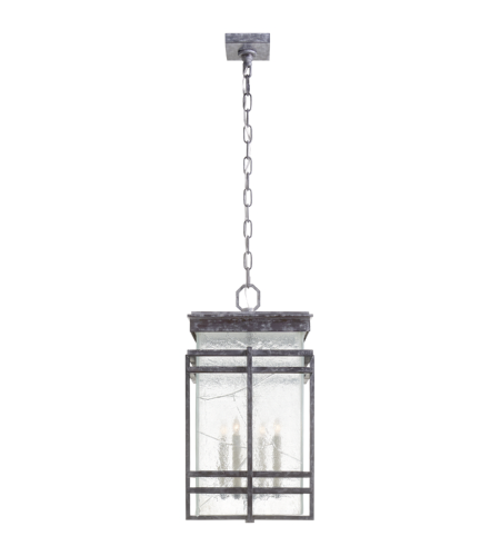 Visual Comfort CHC 2280WZ-TG E. F. Chapman Modern Mission Large Banded Lantern in Weathered Zinc with Clear Textured Glass