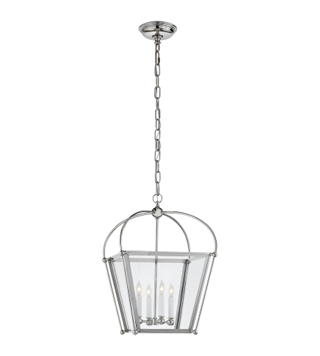 Visual Comfort CHC 3438PN-CG E. F. Chapman Traditional Plantation Small Lantern in Polished Nickel with Clear Glass