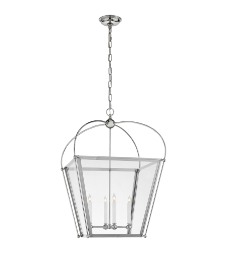 Visual Comfort CHC 3439PN-CG E. F. Chapman Traditional Plantation Medium Lantern in Polished Nickel with Clear Glass