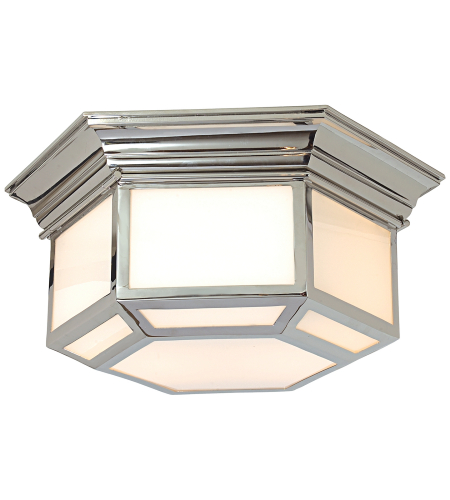 Visual Comfort CHC 4140PN E. F. Chapman Traditional Cornice Hexagonal Flush Mount in Polished Nickel with White Glass