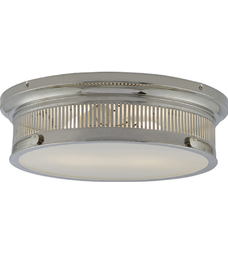 Visual Comfort CHC 4392PN-WG E. F. Chapman Traditional Alderly Flush Mount in Polished Nickel with White Glass