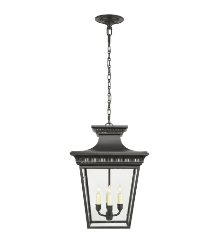 Visual Comfort CHC 5050BLK E. F. Chapman Traditional Elsinore Medium Hanging Lantern in Black with Clear Glass