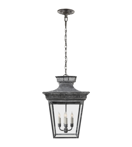 Visual Comfort CHC 5050WZ E. F. Chapman Traditional Elsinore Medium Hanging Lantern in Weathered Zinc with Clear Glass