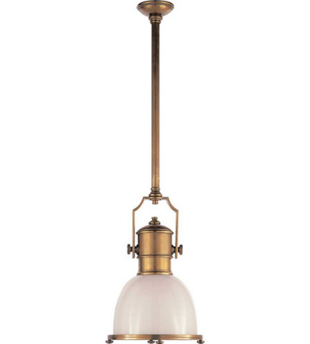 Visual Comfort CHC 5133AB-WG E. F. Chapman Traditional Country Industrial Small Pendant in Antique-Burnished Brass with White Glass Shade