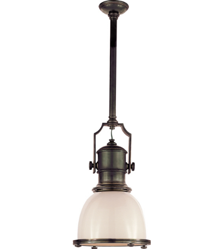 Visual Comfort CHC 5133BZ-WG E. F. Chapman Traditional Country Industrial Small Pendant in Bronze with White Glass Shade