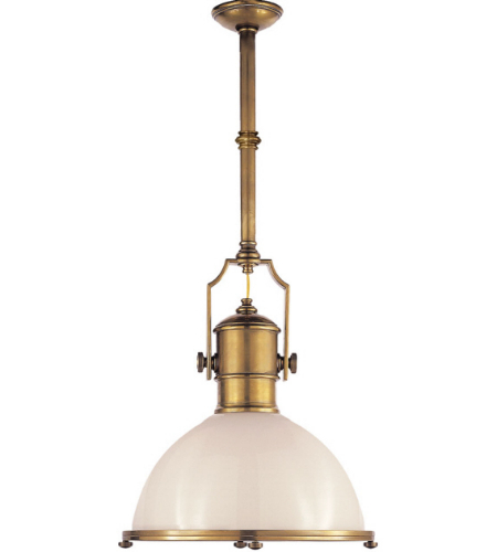 Visual Comfort CHC 5136AB-WG E. F. Chapman Traditional Country Industrial Large Pendant in Antique-Burnished Brass with White Glass Shade