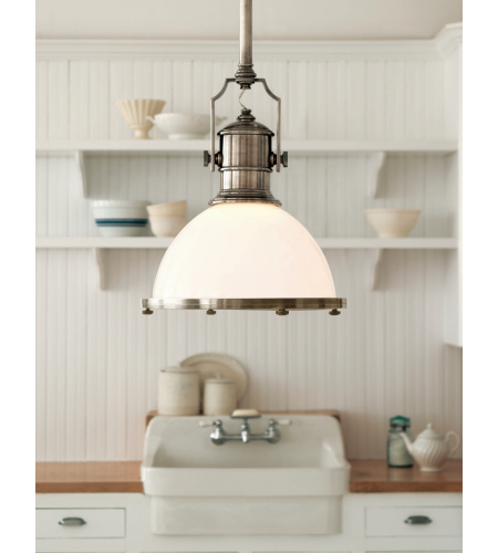 Visual Comfort CHC 5136AN-WG E. F. Chapman Traditional Country Industrial Large Pendant in Antique Nickel with White Glass Shade