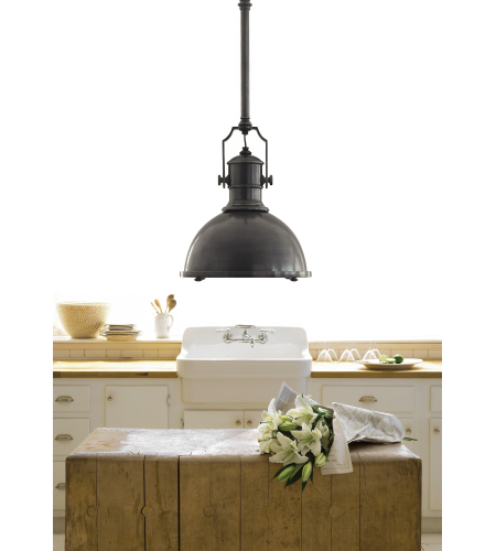 Visual Comfort CHC 5136BZ-BZ E. F. Chapman Traditional Country Industrial Large Pendant in Bronze with Bronze Shade