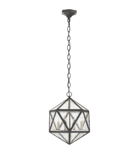 Visual Comfort CHC 5201AI-AM E. F. Chapman Casual Zeno Medium 18 Facet Hedron Lantern in Aged Iron with Antique Mirror