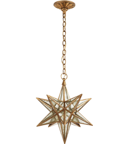 Visual Comfort CHC 5211GI-AM E. F. Chapman Casual Moravian Medium Star Lantern in Gilded Iron with Antique Mirror
