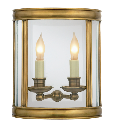Visual Comfort CHD 2000AB E. F. Chapman Traditional Edwardian Medium Half Round Wall Lantern in Antique-Burnished Brass