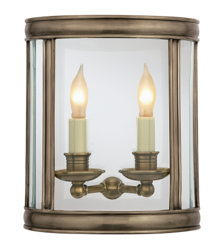 Visual Comfort CHD 2000AN E. F. Chapman Traditional Edwardian Medium Half Round Wall Lantern in Antique Nickel