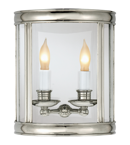 Visual Comfort CHD 2000PN E. F. Chapman Traditional Edwardian Medium Half Round Wall Lantern in Polished Nickel